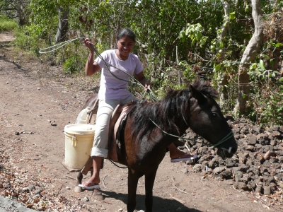 A woman collecting water on horseback