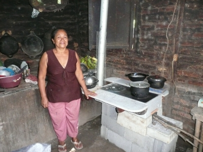 A woman with her new stove