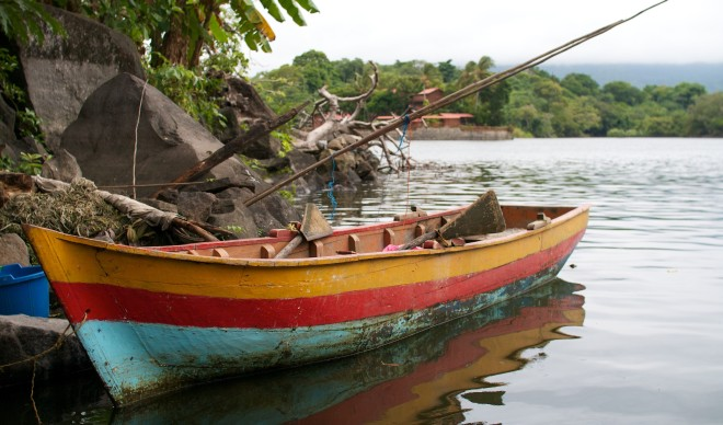 Colourful wooden fishing boat