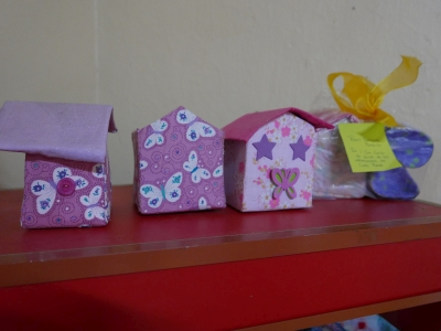 Small fabric boxes made by the girls