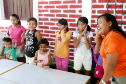 Children singing an action song