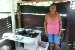 Woman with her new cooker